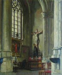intérieur d'église à bruxelles by alfred martin