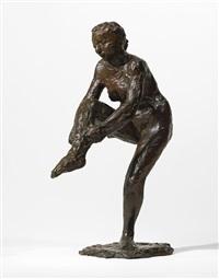 danseuse mettant son bas (première étude) by edgar degas