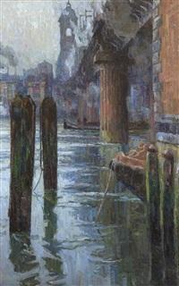 le cannon street bridge (qui en portait encore son nom d'origine alexandra bridge) (london) by albert baertsoen