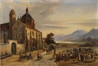 le déballage du marché devant l'église by charles caius renoux