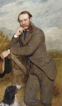 portrait of a gentleman, said to be g.a. fernley j.p., standing by a gate with his dog by james archer