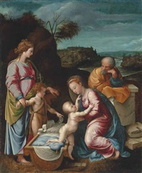 the holy family with the infant saint john the baptist and saint catherine of alexandria by giovanni francesco penni