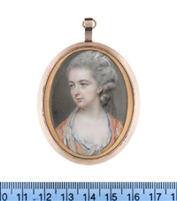 a lady, wearing orange dress with blue trim to her décolleté, her sleeves slashed to reveal white chemise visible at her décolleté, her powdered wig dressed with a white turban by diana dietz hill