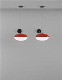 pair of rare ceiling lights, model no. 2077 by gino sarfatti