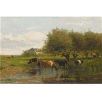 cows in a meadow by jan vrolijk
