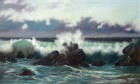 waves breaking on rocky coast by george edmund pruden