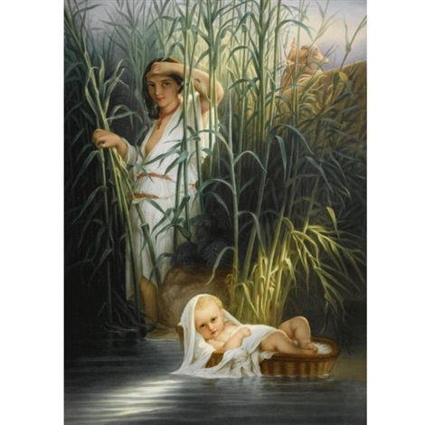 plaque with moses discovered amongst the reeds by the pharohs daughter in 2 parts by kpm königliche porzellan manufaktur co