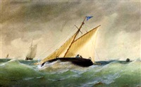 a cutter heeling in an offshore breeze by henry e. tozer