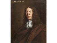 portrait of john kyrle, half-length, wearing brown robes by sir peter lely