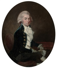 portrait of a gentleman seated in a blue velvet suit, a cane and hat in his hands by francis alleyne