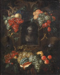 a sculpted bust in a in a niche surrounded with swags of fruit by alexander coosemans