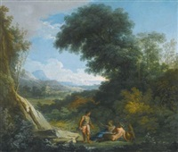 a faun and a nymph reclining in a landscape by andrea locatelli