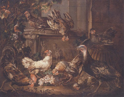 A Turkey A Cockerel And Hens Eating Grapes By A Bas Relief By