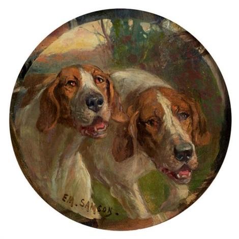 deux chiens courant by em samson