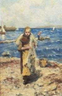 fiskarflicka bärande nät by elisabeth warling