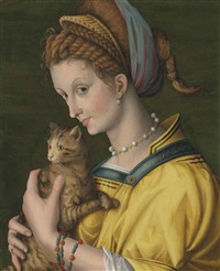portrait of a young lady holding a cat by antonio d' ubertino verdi