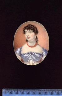 a lady, wearing white dress with pale blue satin bodice and shoulder caps, brooch at her corsage, coral necklace and jewelled drop earring by william john (sir) newton