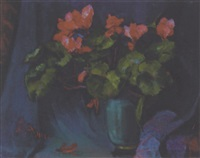 still life with flowers in a blue vase by zhenia arutyunyan