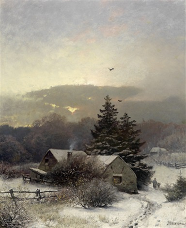 abendliche winterlandschaft by sophus jacobsen