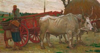 jeunes filles déchargeant des marchandises d'un chariot tiré par des buffles by ottorino bicchi