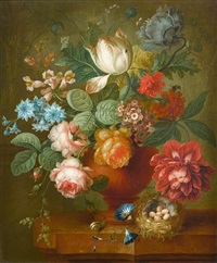 tulips, roses, convolvulus and other flowers in a terracotta vase with a bird's nest on a marble ledge by johannes christianus roedig