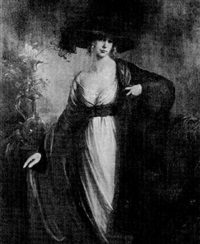 portrait of a young woman wearing a white gown with blue sash by laura revault leroux