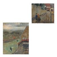copenhagen sceneries with persons (2 works) by carl fischer