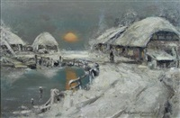 farm scene, winter by william kennedy