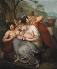 diana attending a child surrounded by nymphs by johan josef langenhöffel