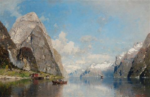 view of a fjord by georg anton rasmussen