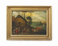 a village landscape with peasants conversing in front of a tavern and travellers on a track by theobald michau