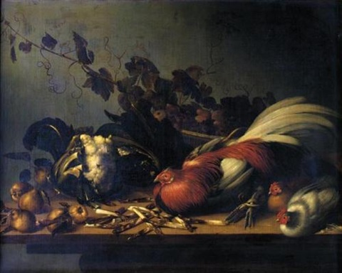 a still life of cockerel and chicks on a ledge surrounded by asparagus cauliflower and pears by balthasar huys
