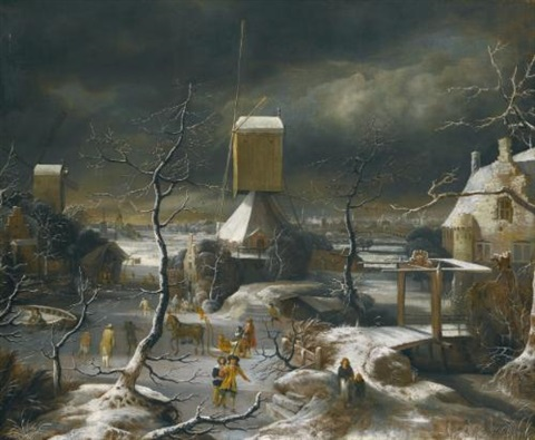 a winter landscape with figures skating a horse drawn sledge and a mill amsterdam and the ij beyond by jan abrahamsz beerstraten