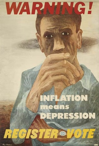 warning inflation means depression by ben shahn