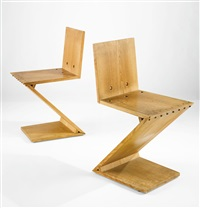 two zig zag chairs (2 works) by gerrit thomas rietveld