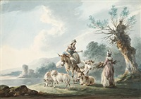 two women, donkeys, a cow and sheep in a landscape by peter la cave