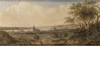 a view of a riverside town (+ an extensive river landscape with a bridge in the foreground; pair) by anthony jansz van der croos