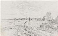 landschaft mit wasserträgerin (+ kleine dorflandschaft (ansicht von neustadt bei marburg); 2 works, 1 w/watercolor) by paul baum