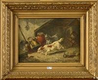 chiens chassant une souris dans la grange by vincent de vos