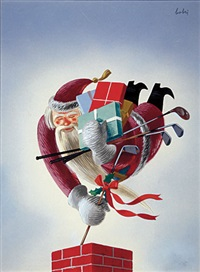 santa delivering golf clubs along with other presents (magazine cover illus. for december 1938 issue of golf) by bobri