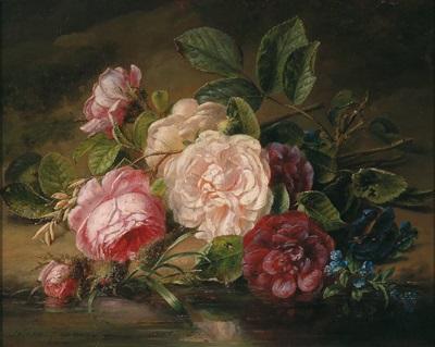 rosen und vergißmeinnicht am bachufer by adriana johanna haanen