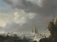 shipping in a storm off a rocky coast by simon de vlieger
