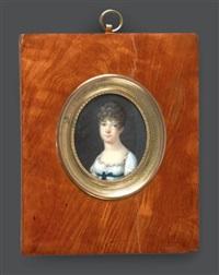 portrait de jeune fille en robe de voile blanc à haute taille ceinturée de bleu, en buste vers la gauche, presque de face et coiffée de boucles by louis françois aubry