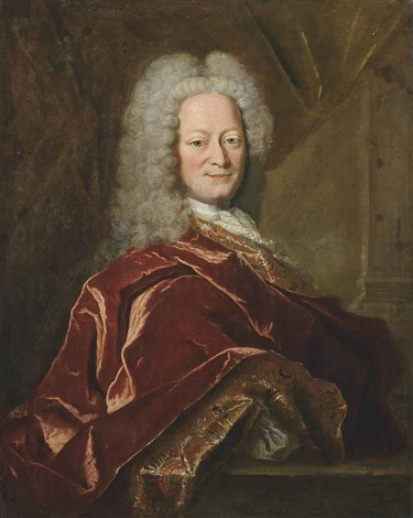 portrait of a gentleman, half-length, in rust robes with emboidered decoration, a curtain and pillar behind by hyacinthe rigaud