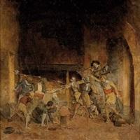 kämpferische auseinandersetzung in einem rittersaal by carl probst