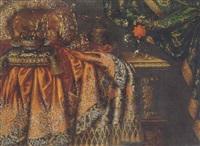 still life of precious gilt objects resting on an elaborately draped ledge and a vase of flowers by johann caspar reinard