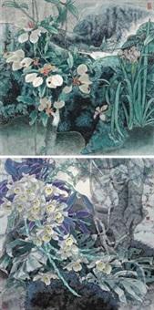 玉叶金华 秘境奇葩 (二帧) (2 works) by liu yitao