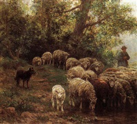 shepherd with his flock by martin coulaud