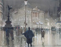 piccadilly circus at night by albert henry fullwood