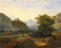 conversation sous le chateau en ruine by nicolas-victor fonville